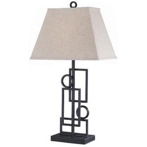 Wrought Iron Table Lamp, Dark Bronze/linen Shade, A 150w