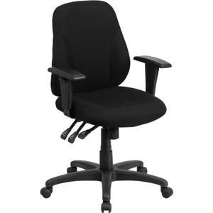Gallery - Mid-Back Black Fabric Multifunction Swivel Ergonomic Task Office Chair with Adjustable Arms