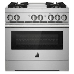 "Jenn-AirRISE 36"" Dual-Fuel Professional Range with Chrome-Infused Griddle and Steam Assist"