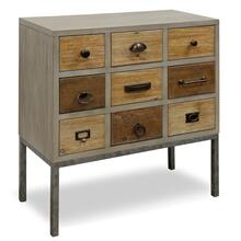 This nine drawer cabinet has multiple sized drawers that are finished in different colors and all ha