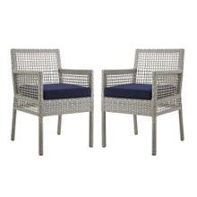 Aura Dining Armchair Outdoor Patio Wicker Rattan Set of 2 in Gray Navy