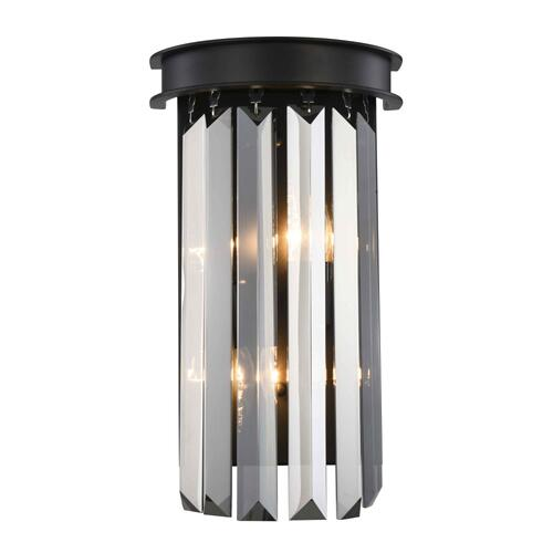 Sydney 2 light Matte Black Wall Sconce Silver Shade (Grey) Royal Cut Crystal