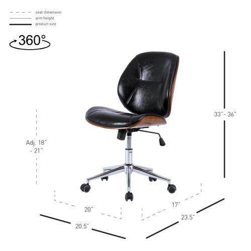 Shaun KD PU Bamboo Office Chair, Black/Walnut