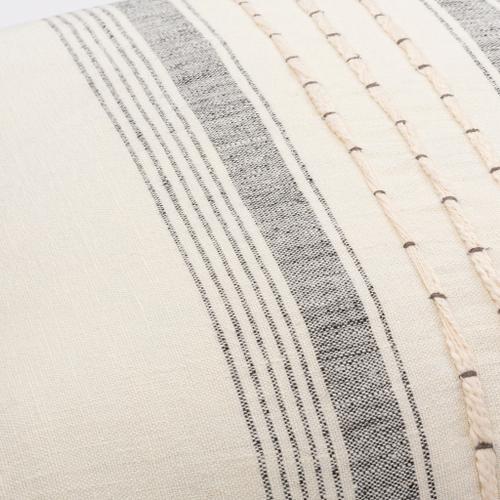"Surya - Linen Stripe Embellished LSP-001 18""H x 18""W"