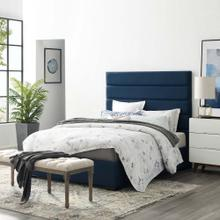 Genevieve Queen Upholstered Fabric Platform Bed in Blue