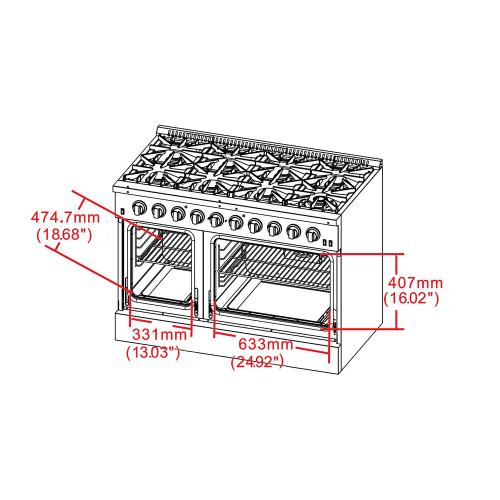 "Gas Range FORNO ALTA QUALITA 48"" Pro-Style Gas 8 Defendi Italian Burners 107,000 BTU All 304 Stainless Steel FFSGS6291-48"