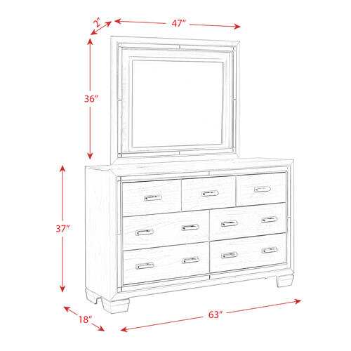 Titanium 7-Drawer Dresser w/ Mirror Set