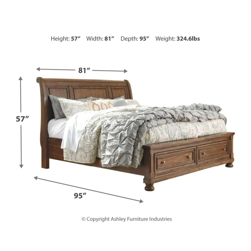 Flynnter California King Sleigh Bed With 2 Storage Drawers