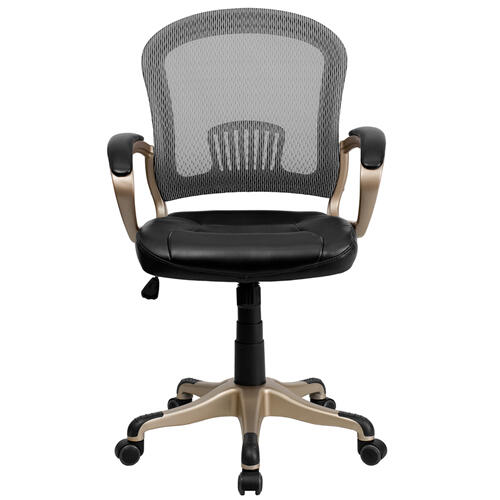 Mid-Back Mesh Office Chair with Black Leather Seat