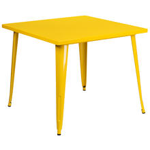 "Commercial Grade 35.5"" Square Yellow Metal Indoor-Outdoor Table"