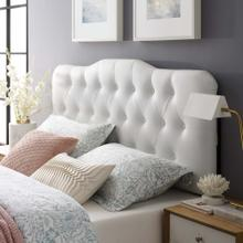 Annabel Queen Upholstered Vinyl Headboard in White