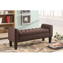 7070 BROWN Fabric Armrest Storage Bench