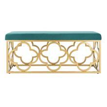 Fleur Rectangle Bench - Emerald Velvet / Gold