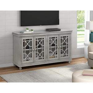 Four Door Lattice Console in Weathered Grey