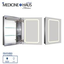 See Details - Medicinehaus Recessed Single Mirrored Door Medicine Cabinet with Outlet and LED Power Dimmer for Light