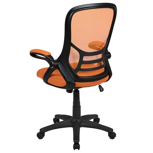 Flash Furniture - High Back Orange Mesh Ergonomic Swivel Office Chair with Black Frame and Flip-up Arms