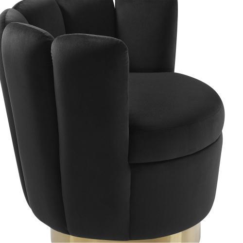 Yad Black Velvet Swivel Chair