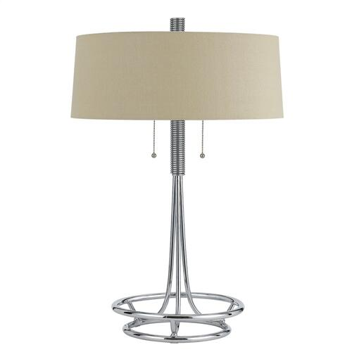 60W X 2 Leccemetal Table Lamp With Burlap Shade