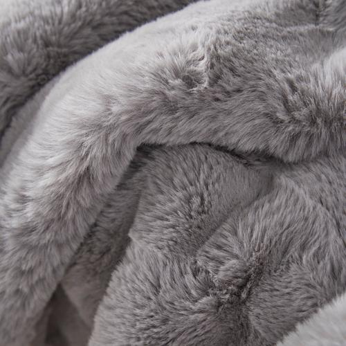 Feizy - LUXE VELOUR THROW IN LIGHT GRAY