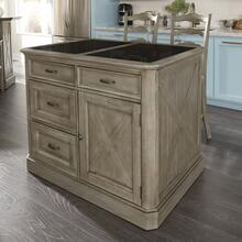 Mountain Lodge Granite Top Kitchen Island With 2 Stools