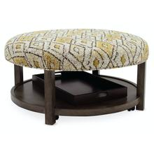 See Details - Living Room Harlow Round Non-Tufted Ottoman