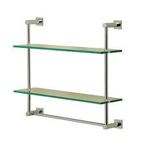 Essentials Wall Mounted Two Tier Glass Shelf and Towel Rail With Braga Backplates