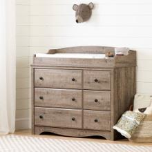 Changing Table/Dresser with 6 Drawers - Weathered Oak