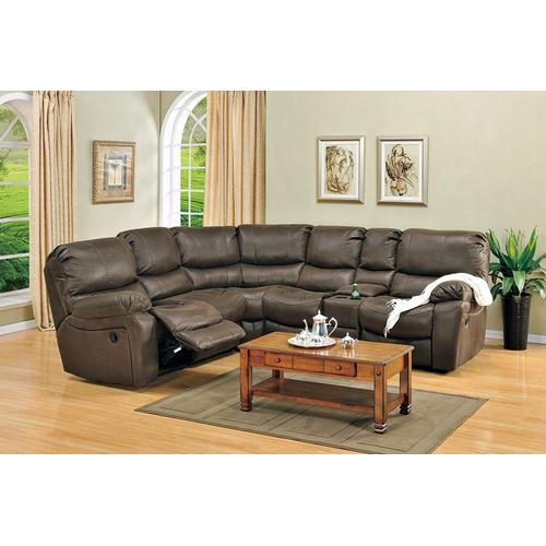 See Details - Ramsey Rodeo Brown Leather-Look Recliner Sectional, M6050