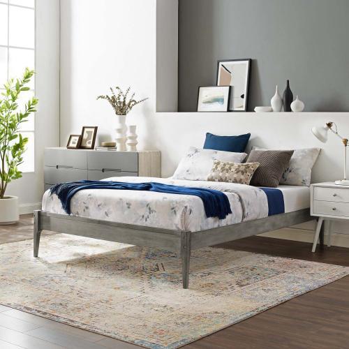 June Full Wood Platform Bed Frame in Gray