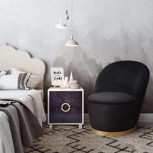 Tov Furniture - Julia Black Velvet Junior Chair