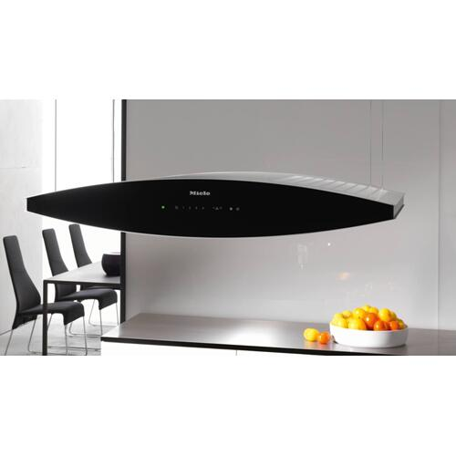 Island décor hood with dimmable halogen lighting and touch controls for convenient operation.