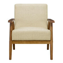 Wood Frame Mid-Century Modern Accent Chair in Soft Beige
