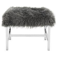 Horace Faux Sheepskin Square Bench - Grey