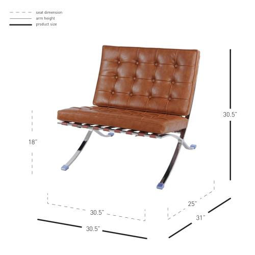 Barca PU Accent Chair Stainless Steel Frame, Distressed Caramel