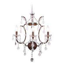 Elena 3 light Rustic Intent Wall Sconce clear Royal Cut crystal