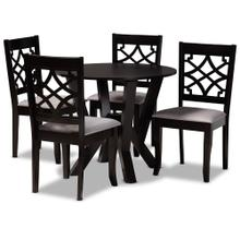 See Details - Baxton Studio Alisa Modern and Contemporary Grey Fabric Upholstered and Dark Brown Finished Wood 5-Piece Dining Set