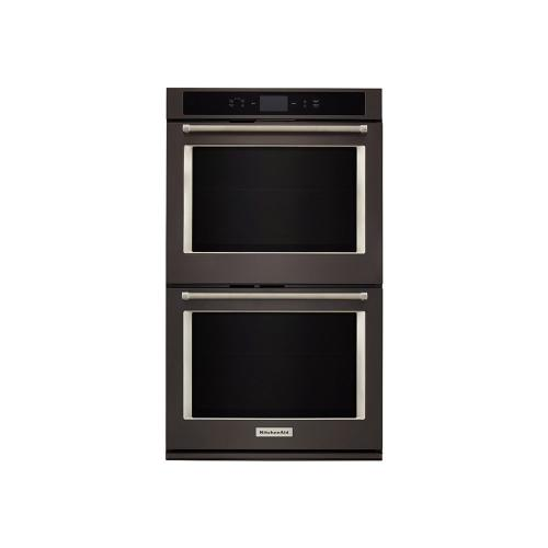"Smart Oven+ 30"" Double Oven with Powered Attachments and PrintShield™ Finish - Black Stainless Steel with PrintShield™ Finish"