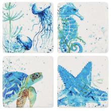 Blue Watercolor Sea Creature Coaster (4 pc. set)