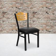 Black Slat Back Metal Restaurant Chair with Natural Wood Back & Black Vinyl Seat