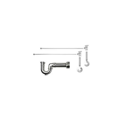 """Mountain Plumbing - Lavatory Supply Kit w/ Massachusetts P-Trap - Angle - Brass Oval Handle - 1/2"""" Female IPS Inlet x 3/8"""" O.D. Compression Outlet - Polished Nickel"""
