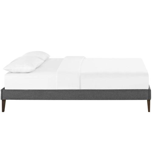Tessie Full Fabric Bed Frame with Squared Tapered Legs in Gray