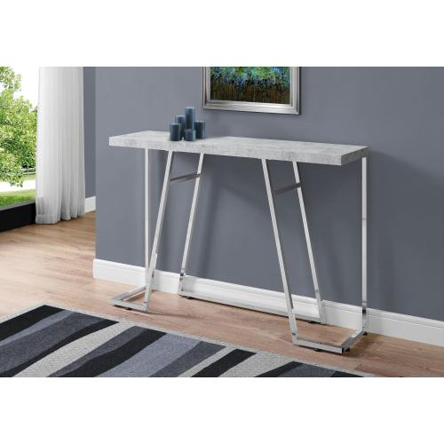 """Gallery - ACCENT TABLE - 48""""L / GREY CEMENT / CHROME METAL"""