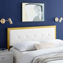 View Product - Teagan Tufted Queen Performance Velvet Headboard in Gold White