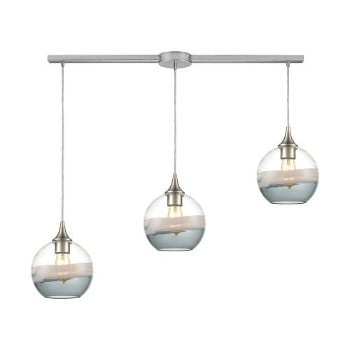 Sutter Creek 3-Light Linear Mini Pendant Fixture with Clear, Grey, and Smoke Seedy Glass