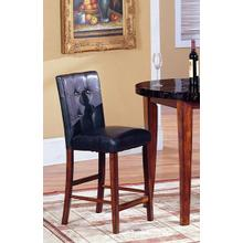 "24"" H Black Blended Leather Counter Hight Bar Stool Chairs with Oak Finish Solid Wood Legs set of 2"