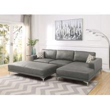 Grant 2pc Sectional Sofa Set, Antique Grey Leatherette
