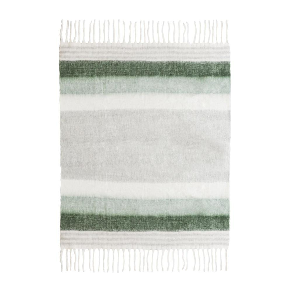 Afrino Wool Green and White Throw
