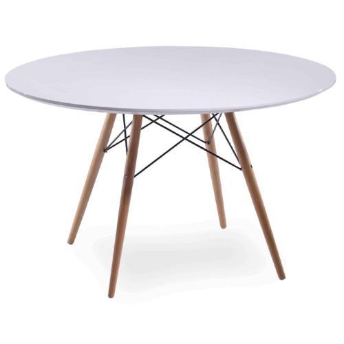"Charleston 44"" Round Dining Table Maple Dowel Legs, White"