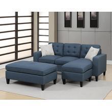 Etzel 3pc Sectional Sofa Set, Navy