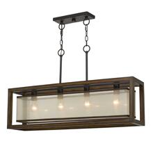 View Product - 60W X 4 Rubber Wood Island Chandelier With Organza Shade